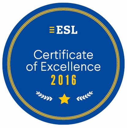 ESL Certificate of Excellence 2016